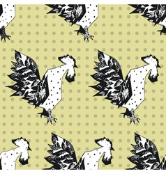 Seamless pattern with cocks vector