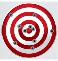 Gun range target with bullet holes vector