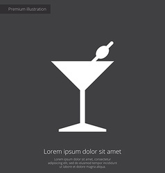 Cocktail premium icon white on dark background vector
