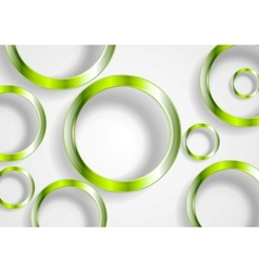 Green shiny circles on white background vector
