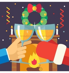 New year christmas with santa claus celebration vector