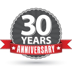Celebrating 30 years anniversary retro label with vector