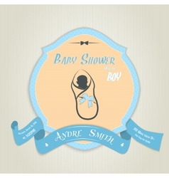 Baby shower invitation with baby boy vector