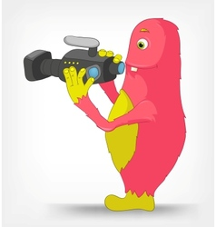 Funny monster cameraman vector