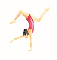 Gymnast standing on one hand vector