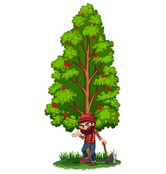 A woodman under the tree with an axe vector