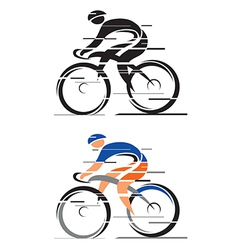 Two racing cyclists vector