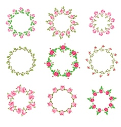 Set rose floral ornate round frames vector