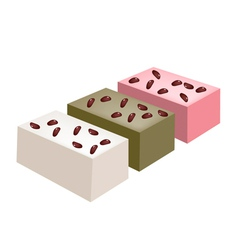 Uiro mochi or traditional japanese steamed cake vector