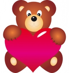 Bear with heart vector vector