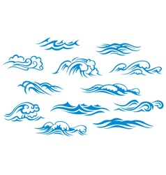 Ocean and sea waves set vector