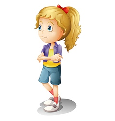 A thinking girl vector