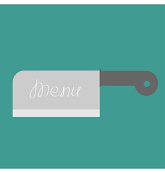 Big steel kitchen meat knife menu cover flat desig vector