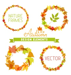 Set of autumn frames on white background vector