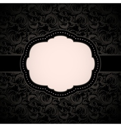 Black seamless floral pattern with vintage frame vector