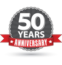 Celebrating 50 years anniversary retro label with vector