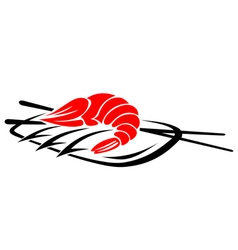 Shrimp seafood with rice and chopsticks vector