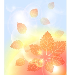 Abstract autumn background with leaves bubbles vector
