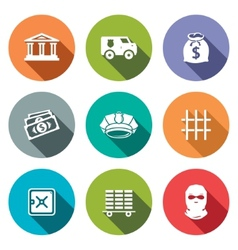 Bank flat icons set vector