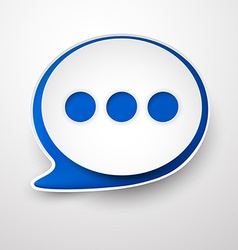 Paper white-blue speech bubble vector