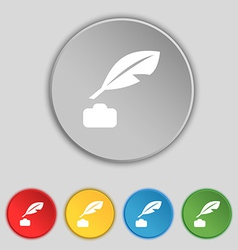 Feather retro pen icon sign symbol on five flat vector