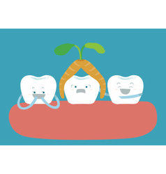 Carrot over head tooth and other tooth amuse vector