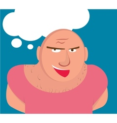 Big bald man with muscles vector
