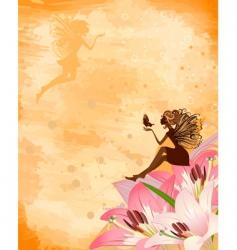 Fairies on flowers vector