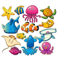 Sea animals collection vector