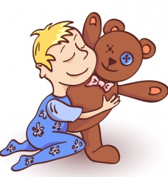 Toddler and teddy vector