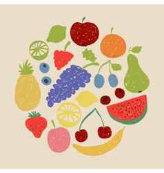 Doodle fruit circle in retro colors vector