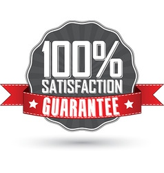 Satisfaction guarantee retro label with red ribbon vector