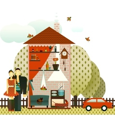 Couple in the village house vector