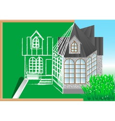 Green blackboard with architectural project vector