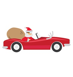 Santa ride car vector