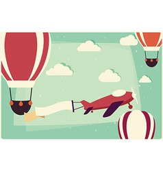 Background with hot air balloons and airplane vector