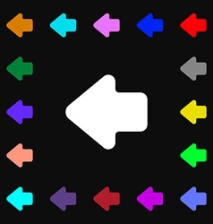 Arrow left way out icon sign lots of colorful vector