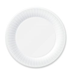 Disposable paper plate isolated on white vector