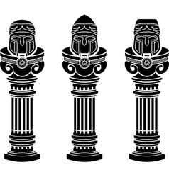 Pedestals of medieval helmets vector