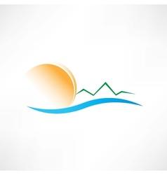 Seascape at sunrise icon vector
