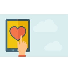Touch screen tablet with the heart icon vector