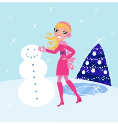 Woman building winter christmas snowman vector