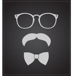 Hipster style set bowtie glasses and mustaches vector