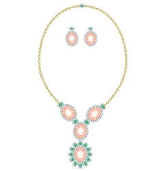 Necklace and earrings vector