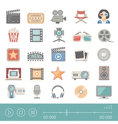 Flat icons cinema vector