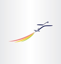 Airplane with color smoke airlines symbol vector
