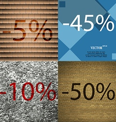 45 10 50 icon set of percent discount on abstract vector