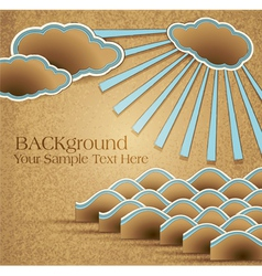 Vintage background with sea clouds and rays on car vector