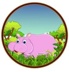 Hippo with forest background vector