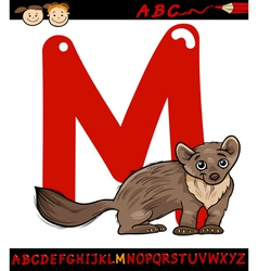 Letter m for marten cartoon vector